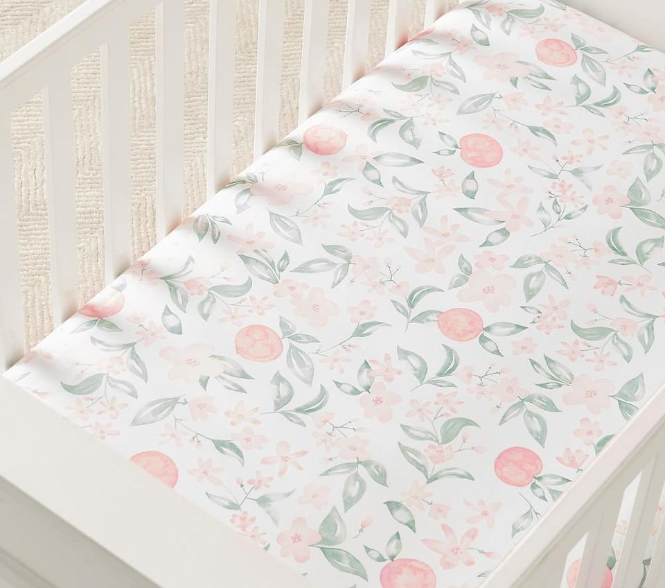 Organic Peach Floral Crib Fitted Sheet