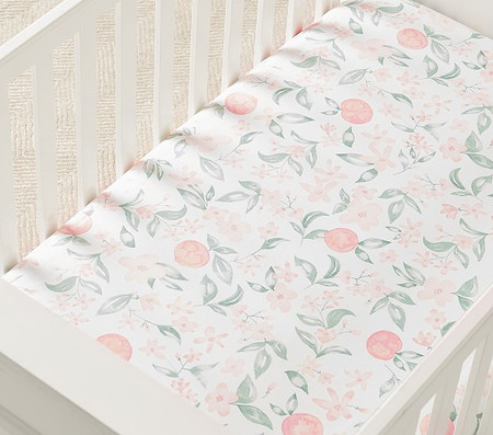 Organic Peach Floral Cot Fitted Sheet