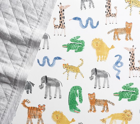 Organic Silly Safari Cot Fitted Sheet