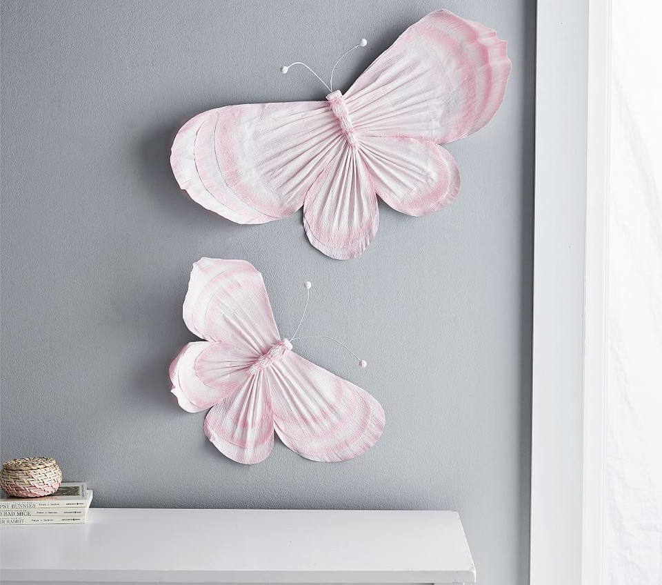 Pink Crepe Paper Butterflies, Set of 2