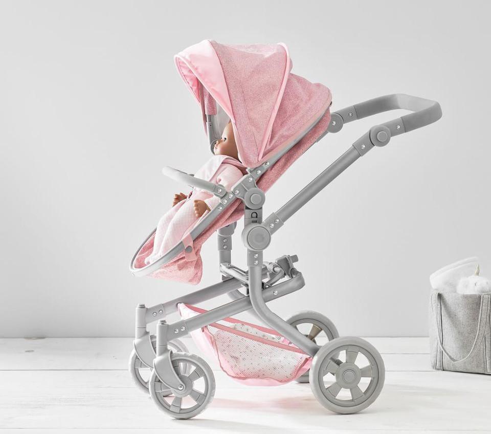 Pink Glitter Convertible 3 In 1 Doll Pram Stroller