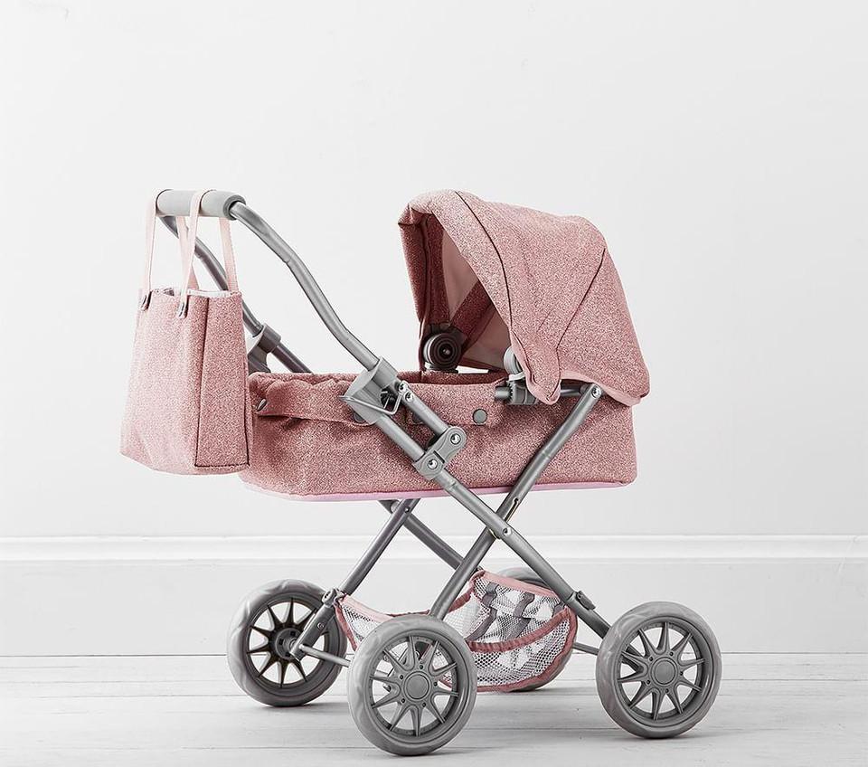 Pink Glitter Mini Pram Doll Stroller