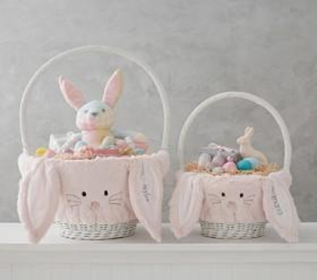 Pink Long Eared Fur Bunny Basket Liners