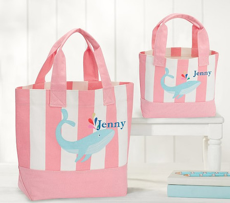 Pink Stripe Whale Tote