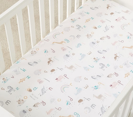 Organic Quincy ABC Cot Fitted Sheet
