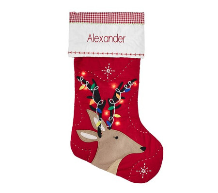 Reindeer With Lights Light-Up Quilted Stocking