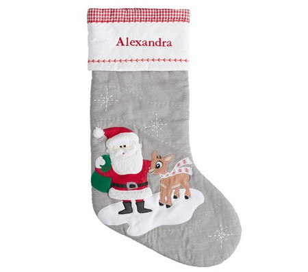 Santa With Rudolph® Grey Quilted Stocking
