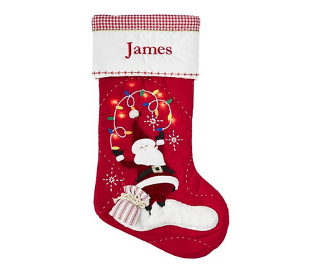 Santa With Lights Quilted Light-Up Stockings