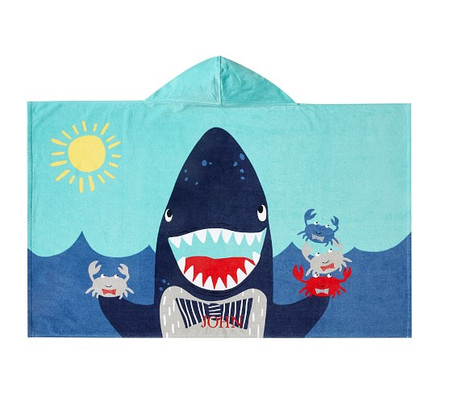 Shark Portrait Kids Beach Hooded Towel
