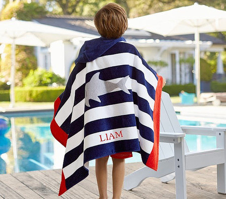 Shark Stripe Kids Beach Hooded Towel