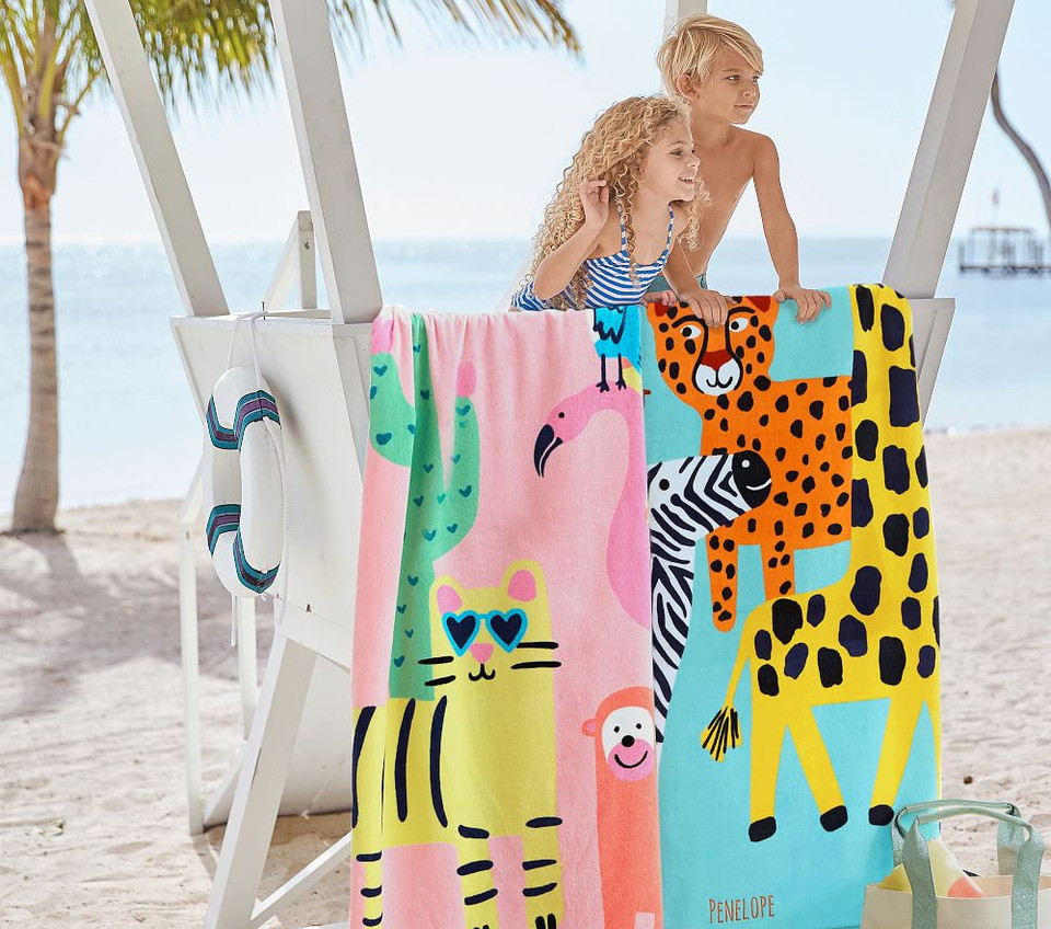 Silly Safari Kids Beach Towel