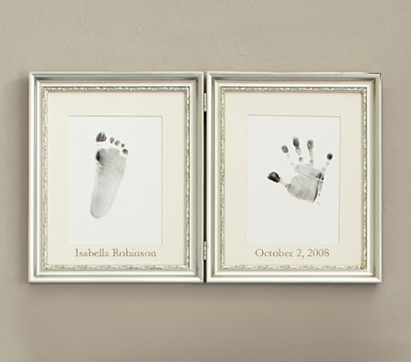 Silver Leaf Handprint and Footprint Frame