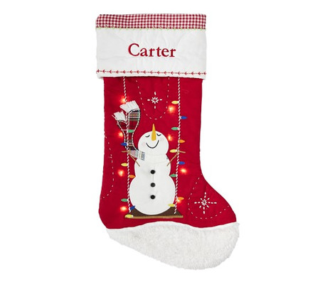 Swinging Snowman Quilted Light-Up Stockings