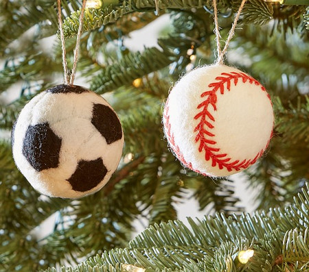 Sports Felted Wool Ornaments