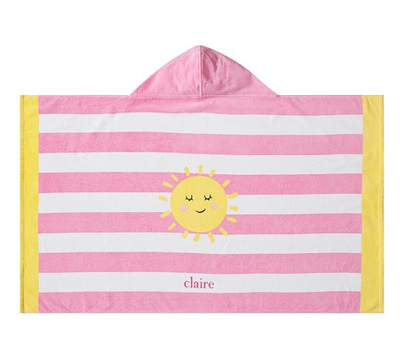 Sunshine Stripe Kids Beach Hooded Towel