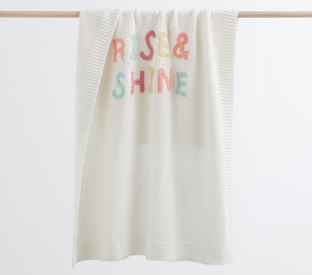 Sweater Knit Applique Rise & Shine Baby Blanket