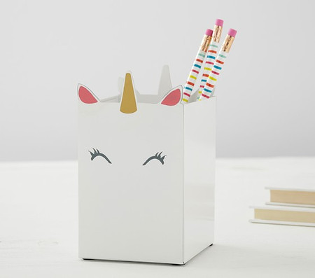 White Unicorn Pencil Holder