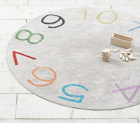 Machine Washable Numbers Round Rug