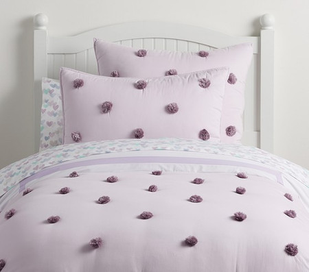 Washed Sateen Pom Pom Comforter
