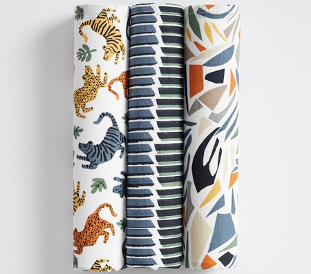 west elm x pbk Mid-Century Safari Swaddle Set