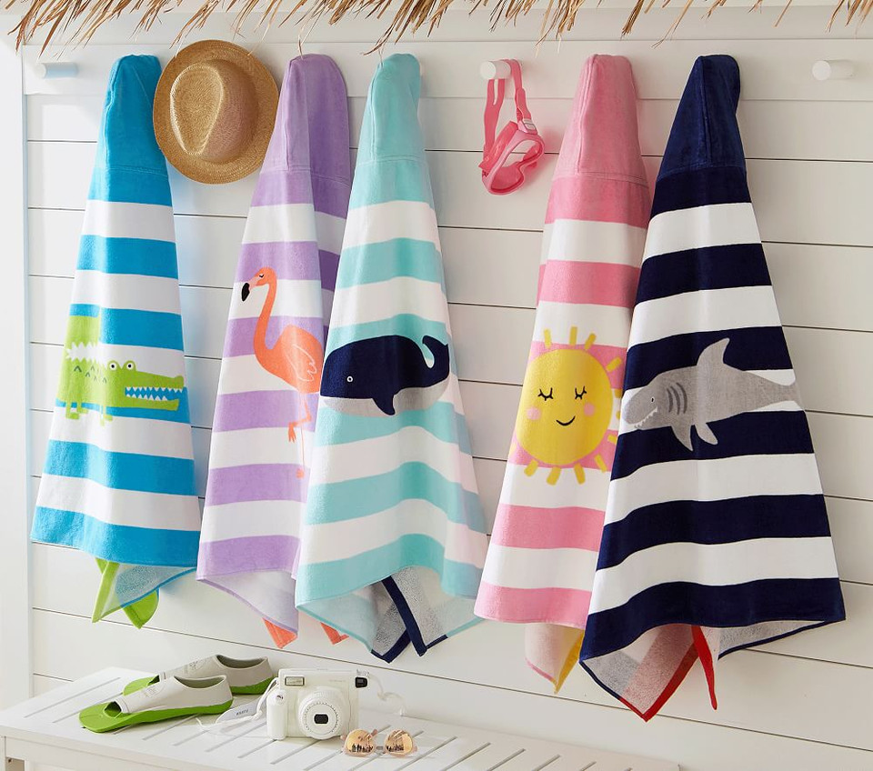 Whale Stripe Kids Beach Hooded Towel