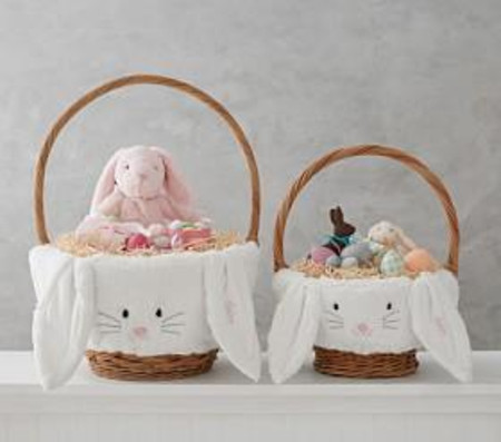 White Long Eared Fur Bunny Basket Liners